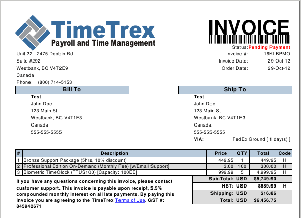 invoice software billing software timetrex